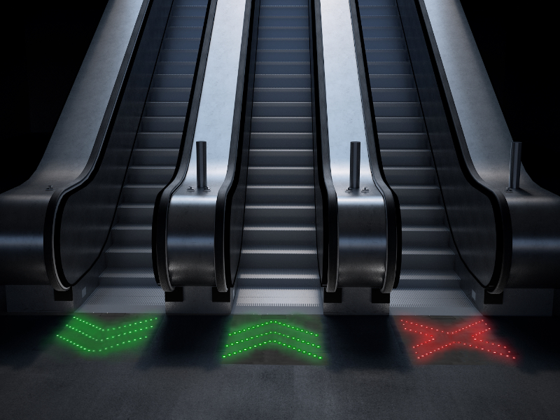 dynamic escalator display with fibre optic cables display by siut berlin